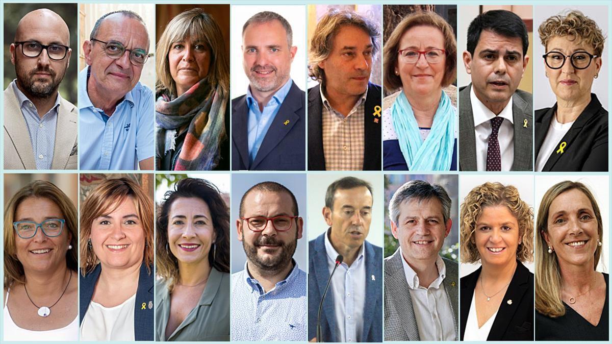En la fila superior, de izquierda a derecha, Jaume Dulsat (Lloret de Mar), Miquel Pueyo (Lleida), Núria Marin (L'Hospitalet de Llobregat), Jordi Fàbrega (La Seu d'Urgell), Jordi Munell (Ripoll), Lourdes Fuentes (Santa Cristina d'Aro), Marc Castells (Igualada) y Maria Pilar Cases (Tremp). En la fila inferior, Yolanda Lorenzo (Vilanova del Vallès), Agnès Lladó (Figueres), Raquel Sánchez (Gavà), David Bote (Mataró), Josep Berga (Olot), David Rodríguez (Solsona), Meritxell Roigé (Tortosa) y Dolors Farré (Valls)