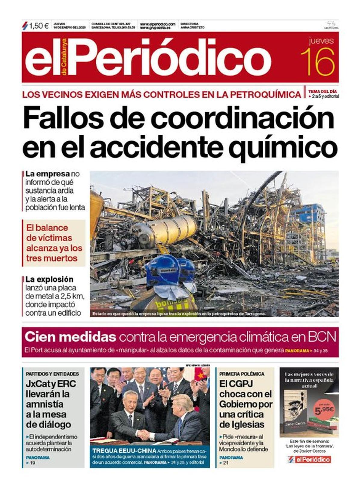 La portada de EL PERIÓDICO del 16 de enero del 2020.