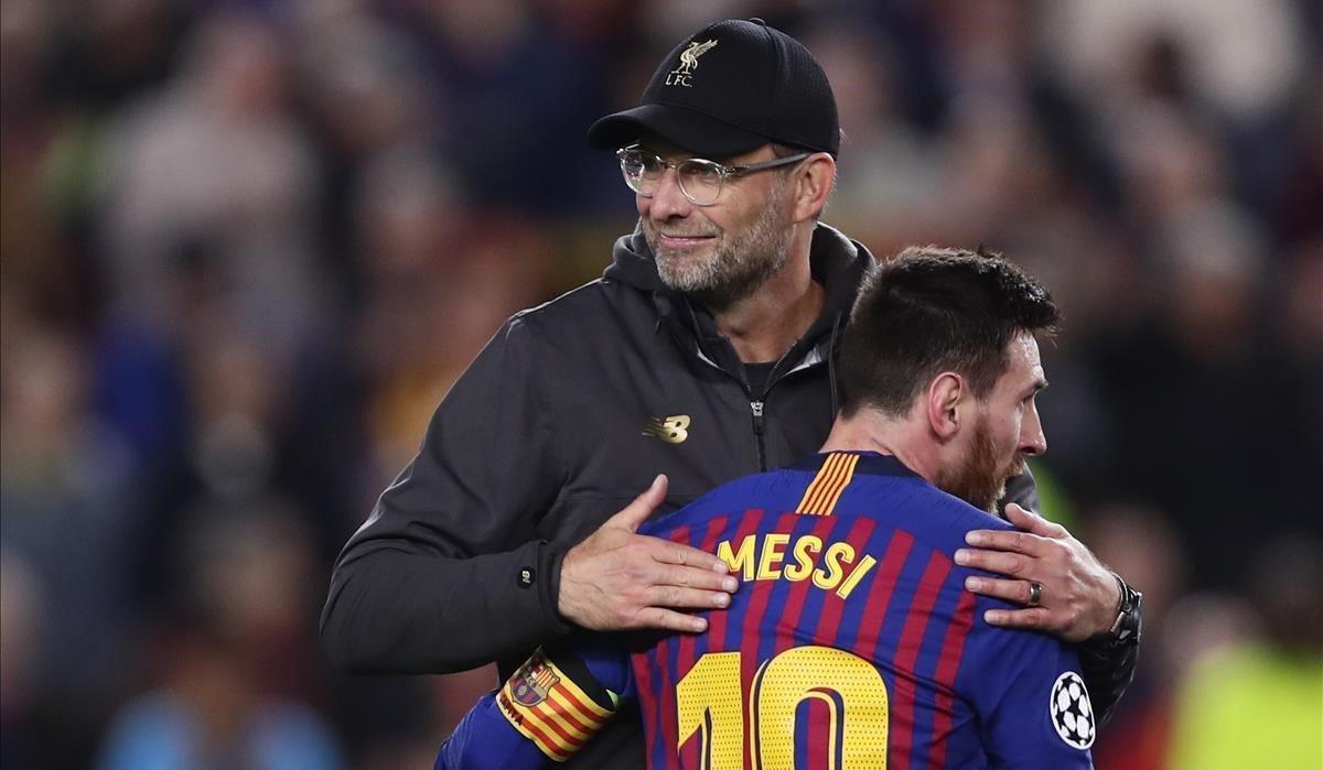 La Champions facilitó el encuentro de Klopp y Messi en el Camp Nou.