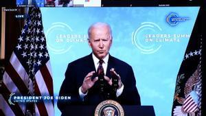 El presidente de EEUU, Joe Biden, en una cumbre por teleconferencia sobre el Clima el pasado jueves.