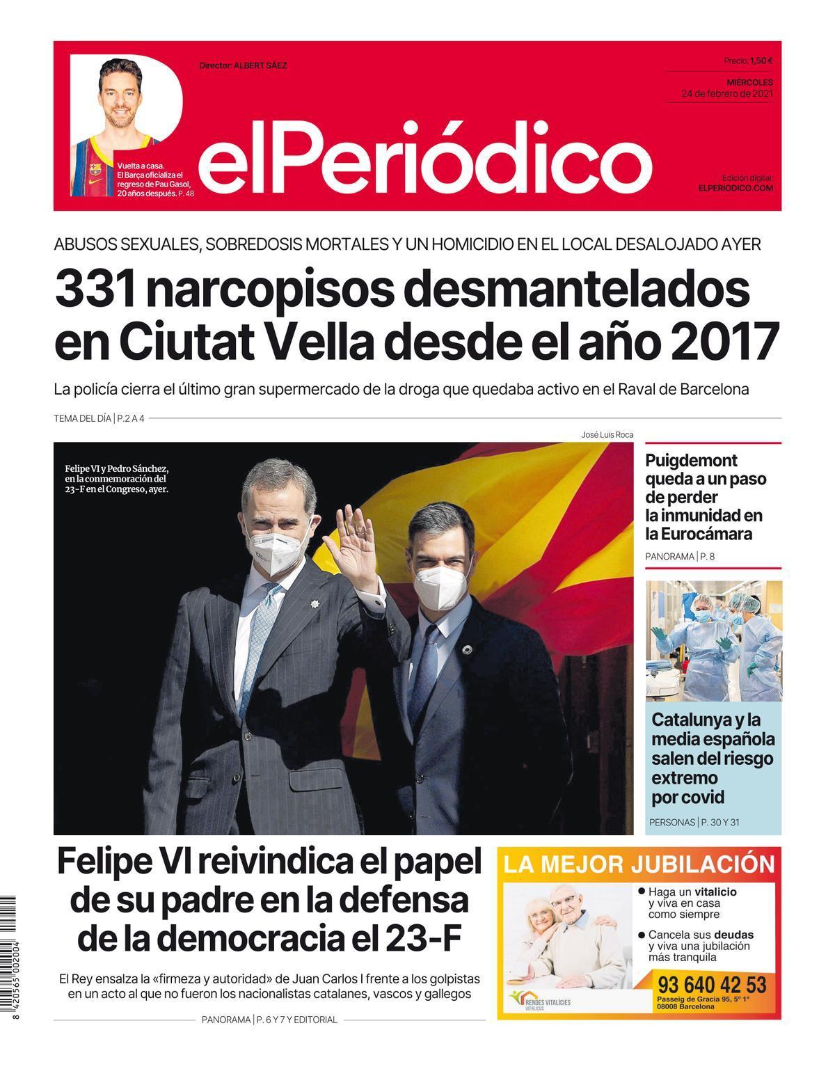 La portada de EL PERIÓDICO del 24 de febrero de 2021