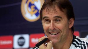 El entrenador del Real Madrid, Julen Lopetegui, este viernes en rueda de prensa.
