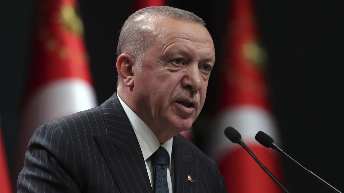 El presidente turco, Recep Tayyip Erdogan, durante una intervención televisada el pasado lunes.