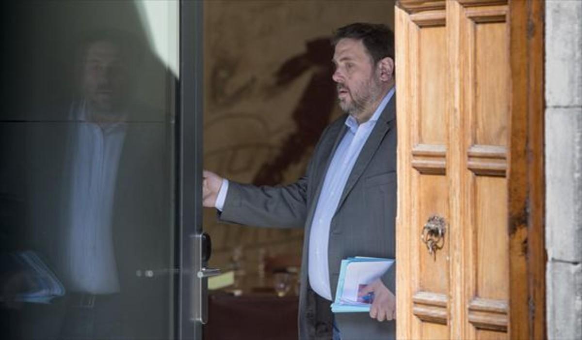 El vicepresidente del Gobierno catalán, Oriol Junqueras, en la reunión del Consell Executiu, hace unos días, en el Palau de la Generalitat.