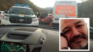 Escena del accidente y retrato del guardia civil fallecido en el control de la Autovía Minera, en Mieres (Asturias).