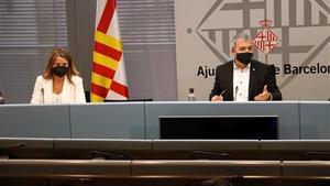 La concejala Eva Parera, de BCN pel Canvi, y el primer teniente de alcalde, Jaume Collboni.