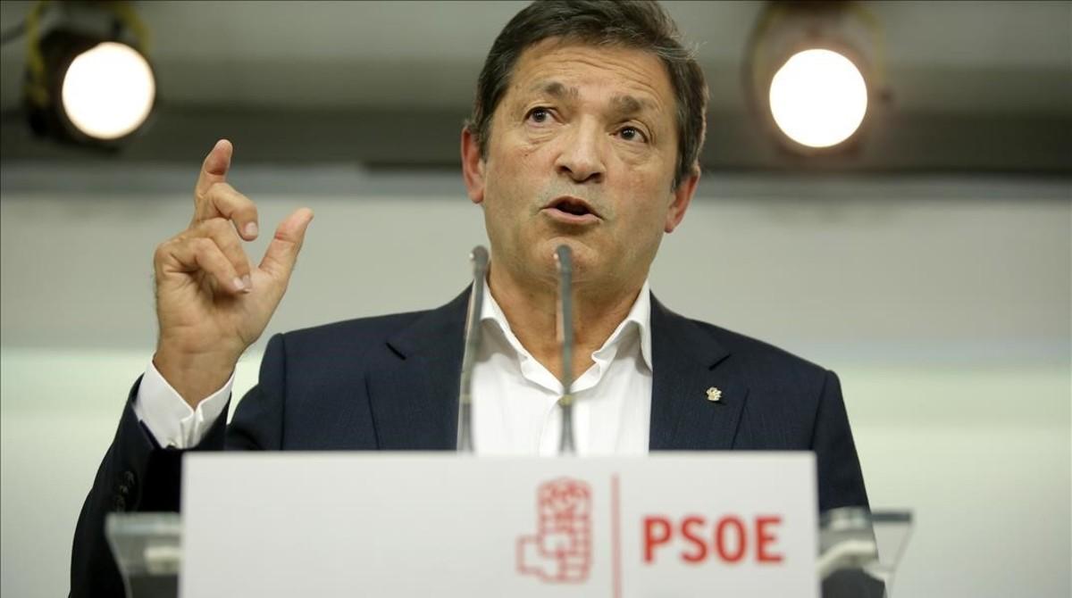 Javier Fernández, en la rueda de prensa que ofreció este lunes.