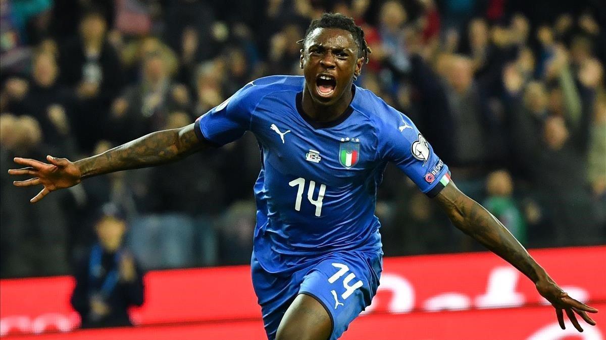 Moise Kean, con el azul de Italia, oscurecerá la camiseta con el Everton.