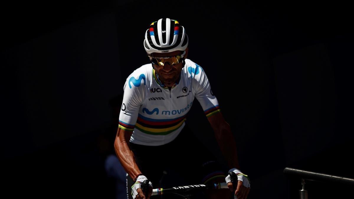 Alejandro Valverde, durante el Tour 2019.
