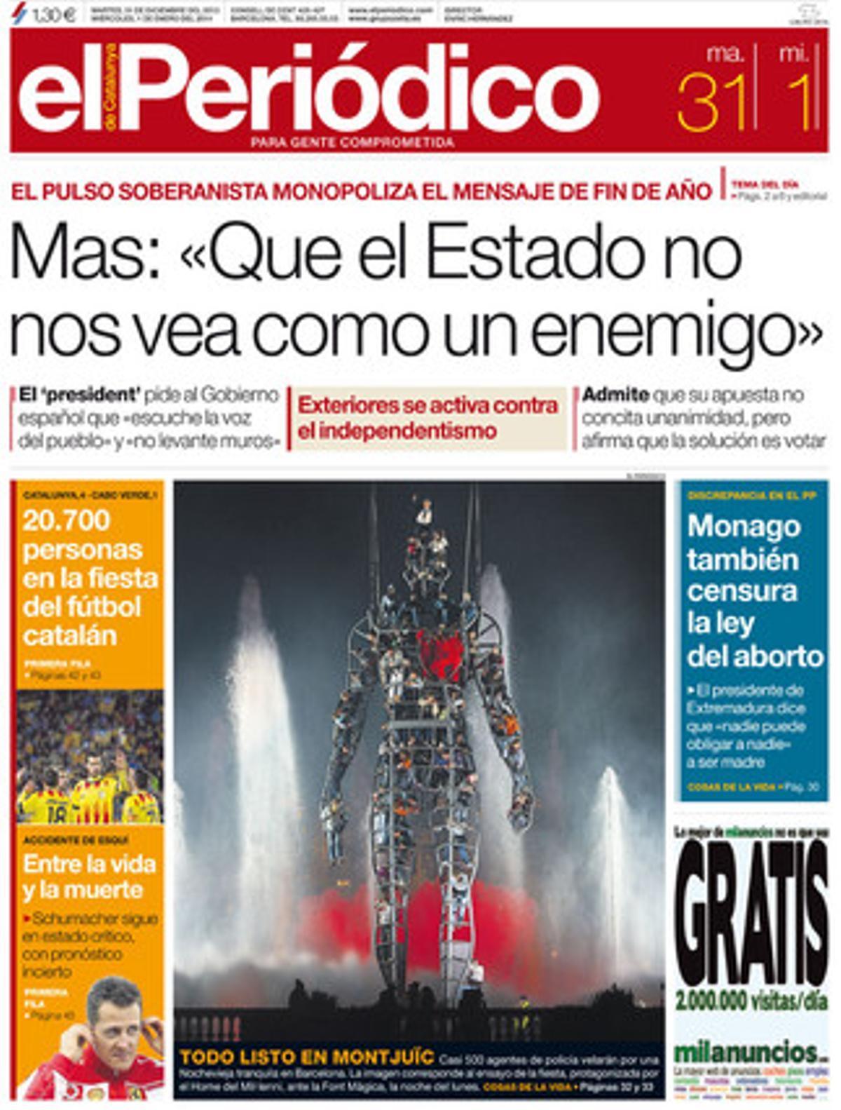 La portada de EL PERIÓDICO (31-12-2013).