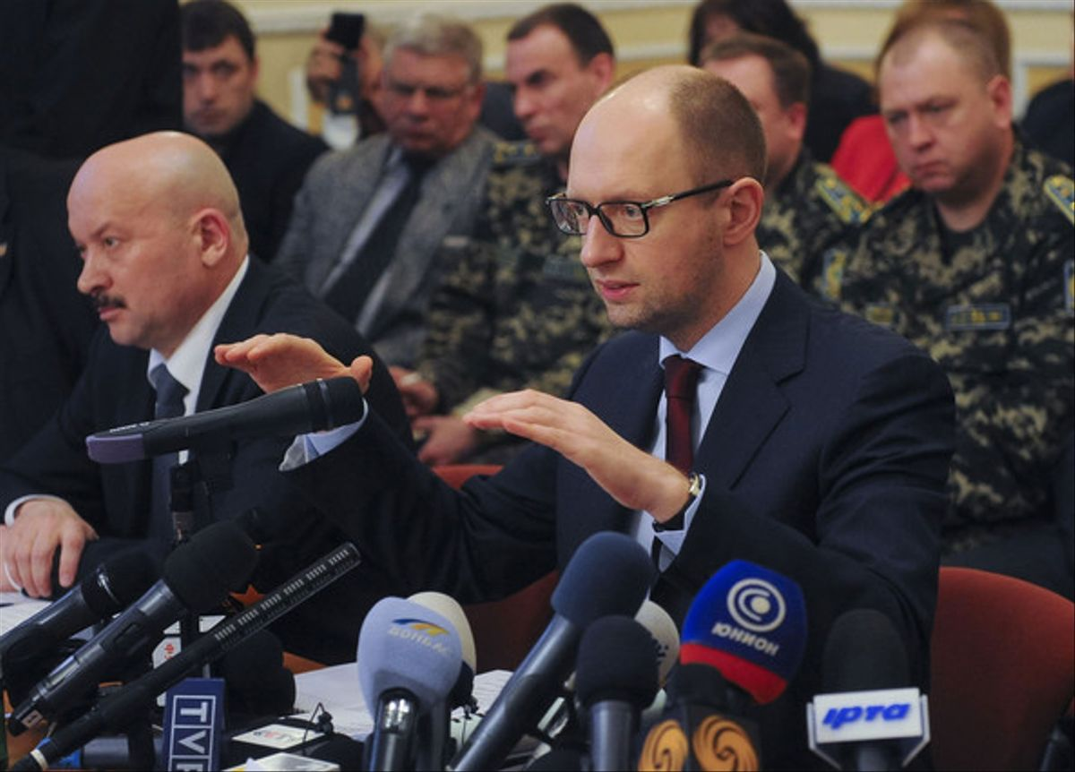 El primer ministro de Ucrania, Arseni Yatseniuk, este viernes en Donetsk.