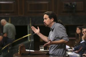 El secretario general de Podemos, Pablo Iglesias, en la sesión de investidura