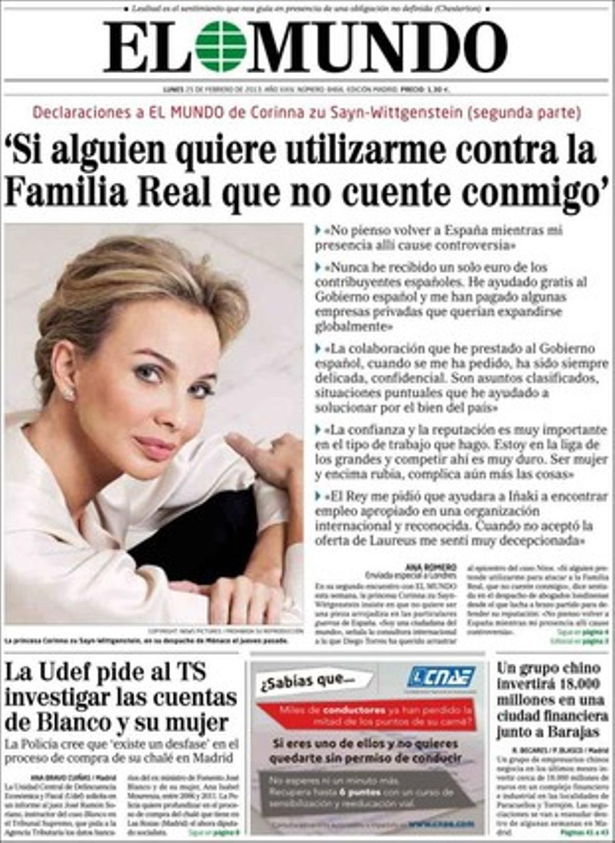 La portada de El Mundo.