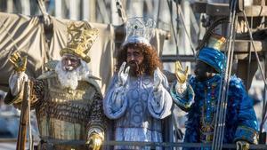Los Reyes Magos, a su llegada al Port Vell el pasado enero.