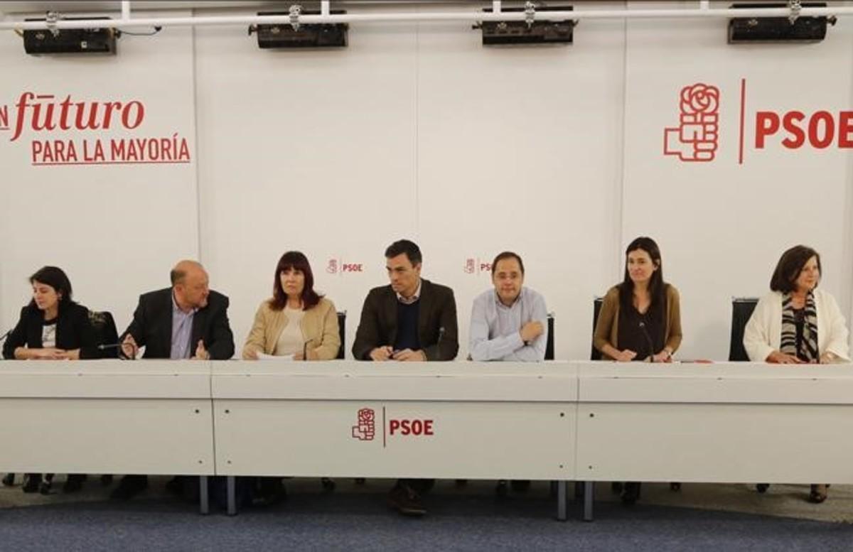El secretario general del PSOE, Pedro Sánchez, preside, este lunes, la reunión de la ejecutiva federal del partido.