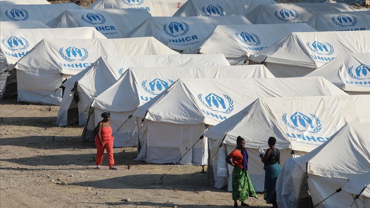 Vista parcial del nuevo campamento de refugiados en Lesbos.