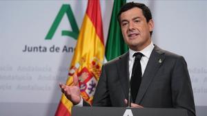 El presidente andaluz, Juanma Moreno Bonilla, en una comparecencia telemática tras la conferencia de presidentes autonómicos.
