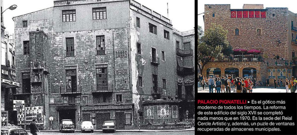 La sede del Reial Cercle Artistic, antes y después de su gotificación.