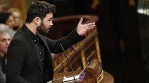 El dirigente de Esquerra Republicana de Catalunya, Gabriel Rufián, ha aprovechado su intervención para hacer una declaración de principios.