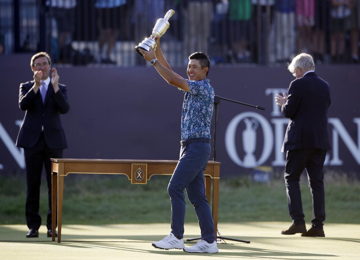Morikawa levanta la Jarra de Clarete, el trofeo que distingue al ganador del Open Británico