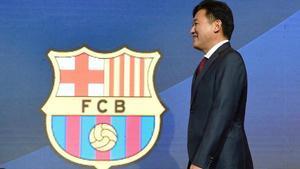 Hiroshi Mikitani, en la presentación del acuerdo de patrocinio de Rakuten con el Barça, el pasado miércoles.