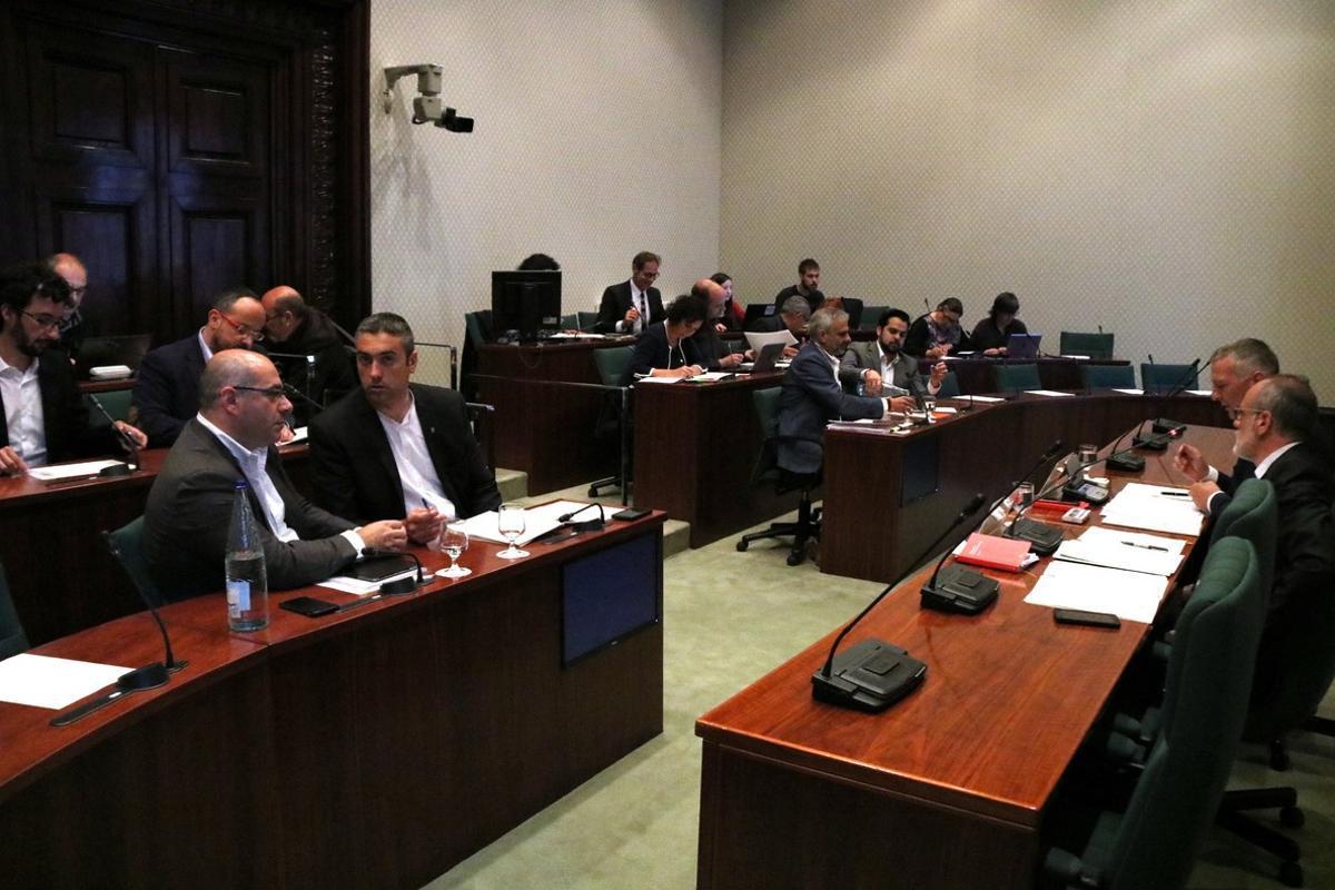 La comisión de investigación sobre el 'caso Vidal', este martes, en el Parlament.
