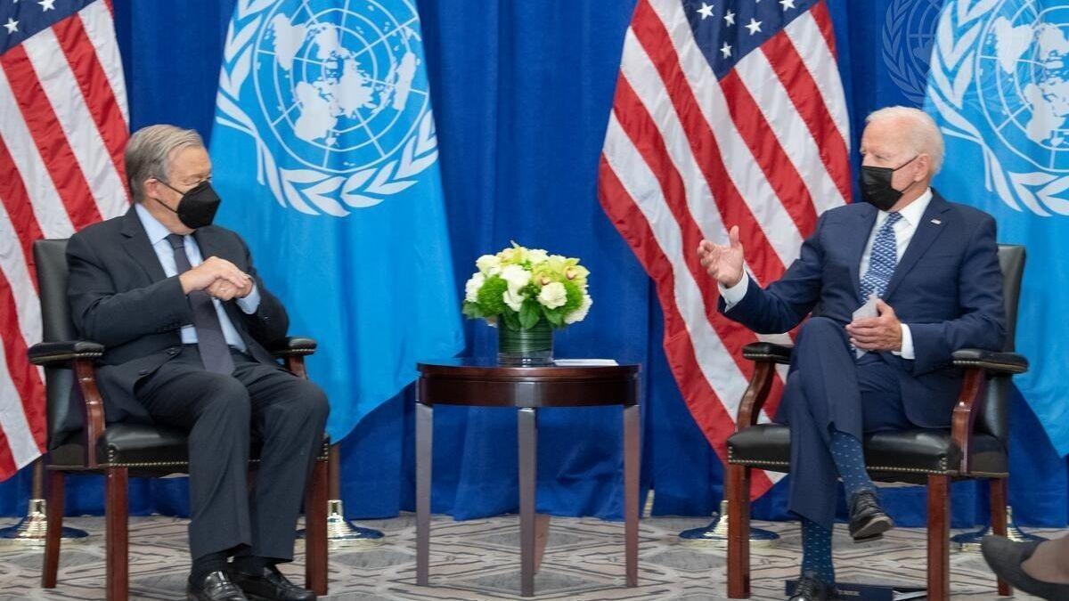 El secretario general de la ONU, António Guterres, y el presidente de EEUU, Joe Biden, en la sede del organismo en Nueva York.