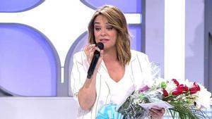 Toñi Moreno en 'Mujeres, hombres y viceversa' tras conocerse que se encuentraesperando a su primer hijo.