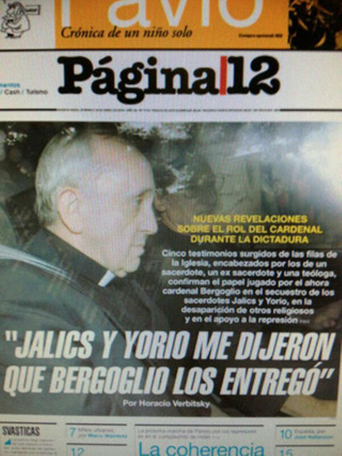 Críticas al nuevo Papa en un diario argentino.