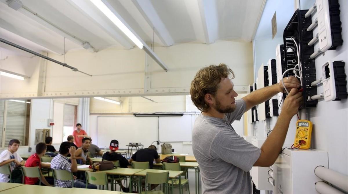 Clase en un instituto de FP de Barcelona.