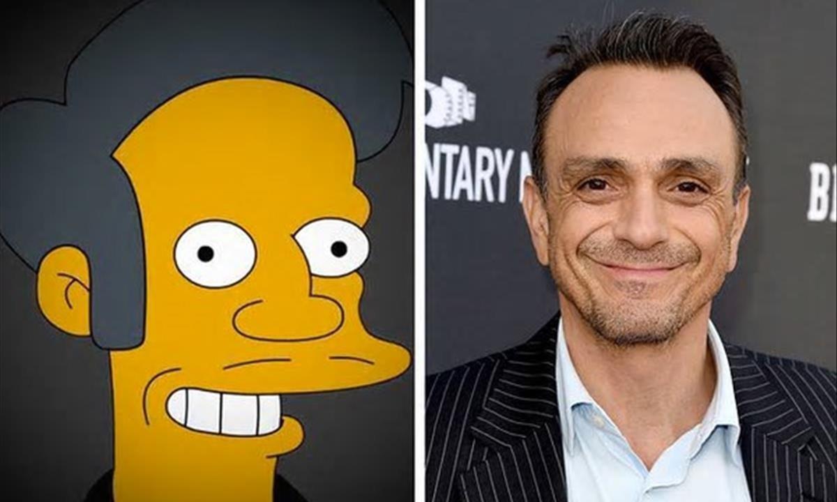 Apu, el personaje de 'Los Simpson', y Hank Azria, el actor que le da voz.