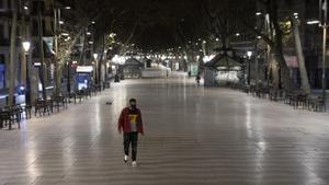 Las Ramblas de Barcelona, el 19 de enero durante el toque de queda.