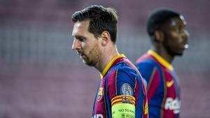 Messi y Dembélé, en el duelo europeo del Barça ante el Dinamo de Kiev.