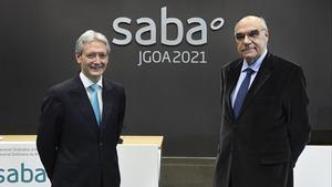 El presidente de Saba, Salvador Alemany, y su consejero delegado, Josep Martínez Vila, en el transcurso de la Junta General de Accionistas.