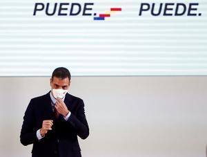 El presidente del Gobierno, Pedro Sánchez, al término de su intervención en el palacio de Congresos Baluarte, en Pamplona, este 13 de noviembre.