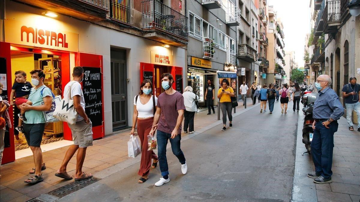 La calle de Astúries de Barcelona, ayer martes.