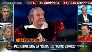 Risas en 'El chiringuito' al descubrir que Pedrerol era la Rana de 'Mask Singer'