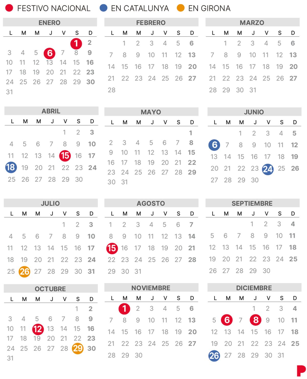 Calendario laboral de Girona 2022.