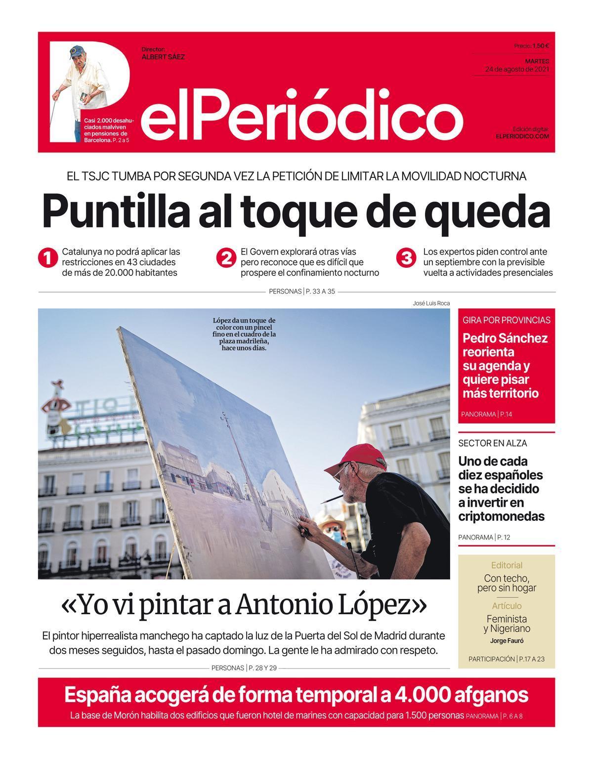 La portada de EL PERIÓDICO del 24 de agosto de 2021