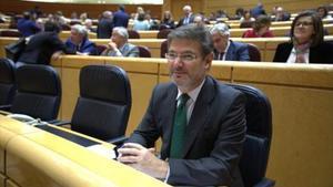 El ministro de Justicia, Rafael Catalá, el pasado martes en la sesión de control al Gobierno en el Senado.