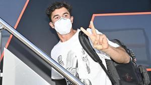 Marc Márquez, entrado esta mañana en su camión-vivienda, ya en el circuito de Jerez.