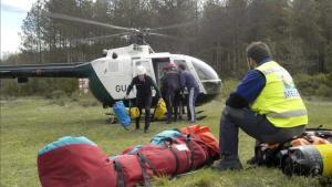 Los servicios de emergencia de la Guardia Civil en el río Vero, enHuesca