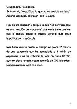 Discurso de Pablo Casado, líder del PP, en la moción de censura de Vox, este 22 de octubre de 2020.