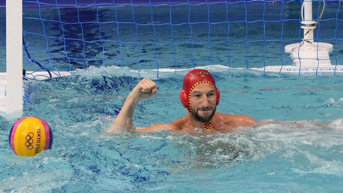 El portero de la selección española de waterpolo Daniel López-Pinedo en los Juegos de Tokyo 2020.