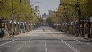 El paseo de Gràcia desierto, el 23 de marzo.