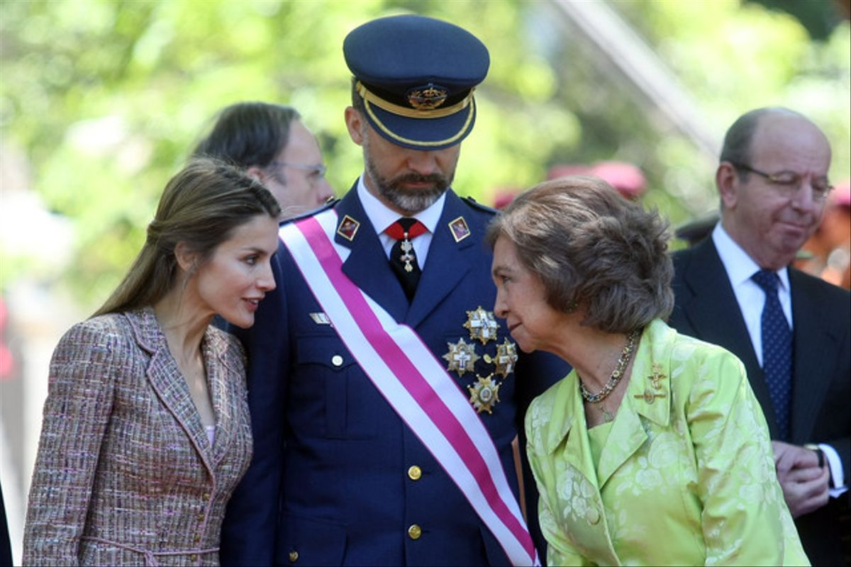 La reina Sofía y los Príncipes de Asturias, el pasado 1 de junio durante el Día de las Fuerzas Armadas.