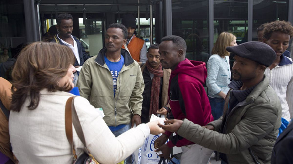 Llegada de 22 refugiados procedentes de Italia para su reubicación en España