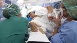 Gara, despierta, durante la operación en Sant Joan de Déu.
