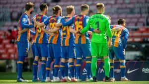 La formación inicial del Barça en el partido frente al Atlético.
