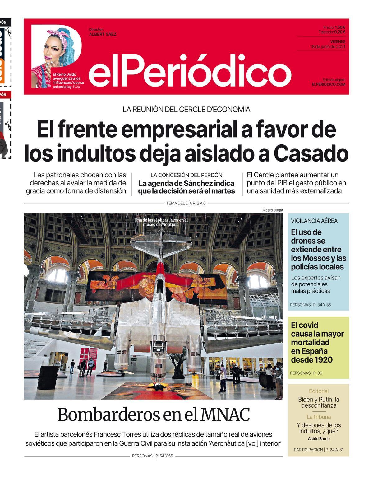 La portada de EL PERIÓDICO del 18 de junio de 2021